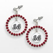 LogoArt Tony Stewart Silver Tone Crystal Logo Charm Hoop Drop Earrings