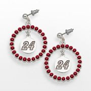 LogoArt Jeff Gordon Silver Tone Crystal Logo Charm Hoop Drop Earrings