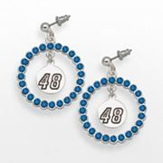 LogoArt Jimmie Johnson Silver Tone Crystal Logo Charm Hoop Drop Earrings