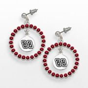 LogoArt Dale Earnhardt Jr. Silver Tone Crystal Logo Charm Hoop Drop Earrings
