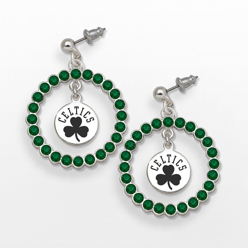 LogoArt Boston Celtics Silver Tone Crystal Logo Charm Hoop Drop Earrings