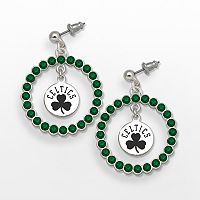 LogoArt Boston Celtics Silver Tone Crystal Logo Charm Hoop Drop Earrings
