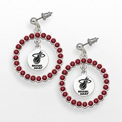 LogoArt Miami Heat Silver Tone Crystal Logo Charm Hoop Drop Earrings