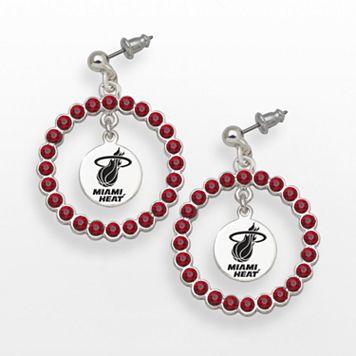 LogoArt Miami Heat Silver Tone Crystal Logo Charm Hoop Drop Earrings