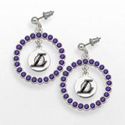 LogoArt Los Angeles Lakers Silver Tone Crystal Logo Charm Hoop Drop Earrings