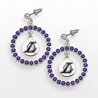 LogoArt Los Angeles Lakers Silver Tone Crystal Logo Charm Hoop Drop Earrings