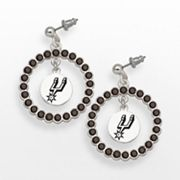 LogoArt San Antonio Spurs Silver Tone Crystal Logo Charm Hoop Drop Earrings