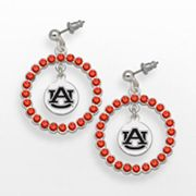 LogoArt Auburn University Silver Tone Crystal Logo Charm Hoop Drop Earrings