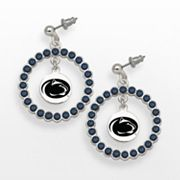 LogoArt Penn State Nittany Lions Silver Tone Crystal Logo Charm Hoop Drop Earrings