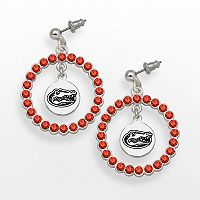 LogoArt Florida Gators Silver Tone Crystal Logo Charm Hoop Drop Earrings