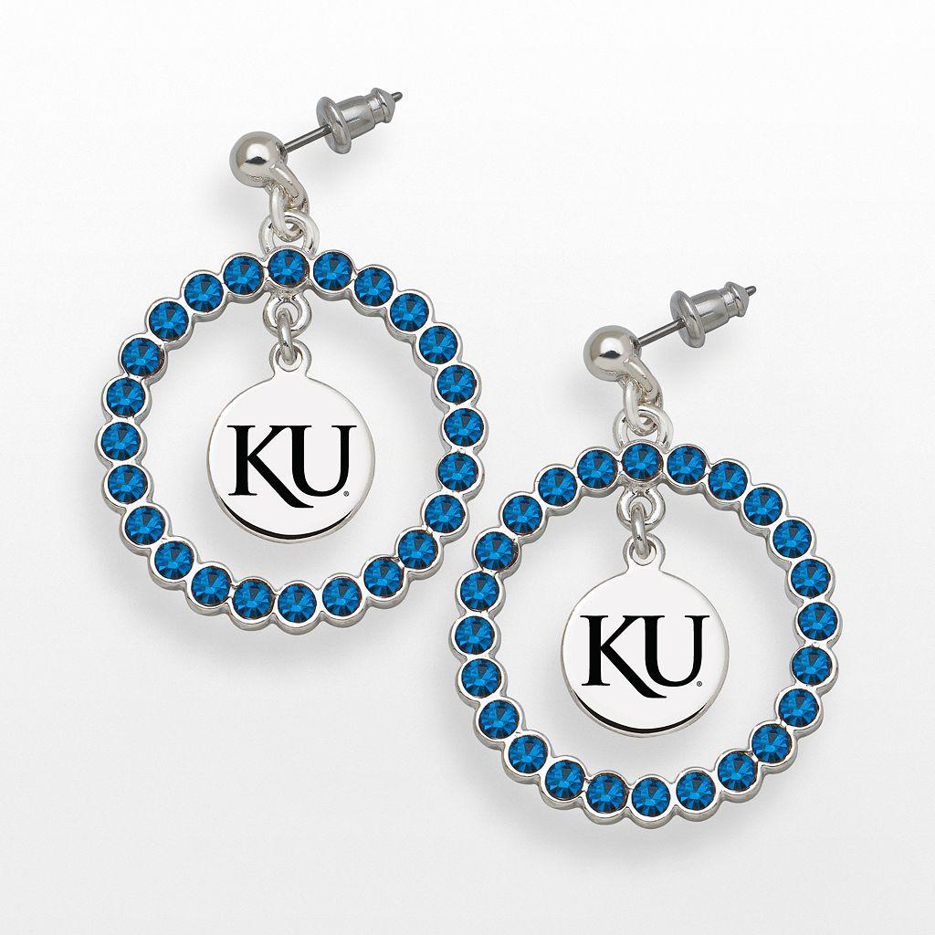 LogoArt Kansas Jayhawks Silver Tone Crystal Logo Charm Hoop Drop Earrings