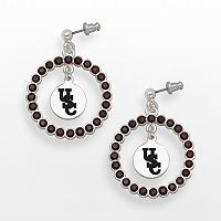 LogoArt South Carolina Gamecocks Silver Tone Crystal Logo Charm Hoop Drop Earrings