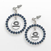 LogoArt Chicago Bears Silver Tone Crystal Logo Charm Hoop Drop Earrings