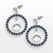 LogoArt San Diego Chargers Silver Tone Crystal Logo Charm Hoop Drop Earrings