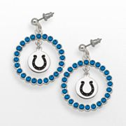 LogoArt Indianapolis Colts Silver Tone Crystal Logo Charm Hoop Drop Earrings