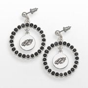 LogoArt Philadelphia Eagles Silver Tone Crystal Logo Charm Hoop Drop Earrings