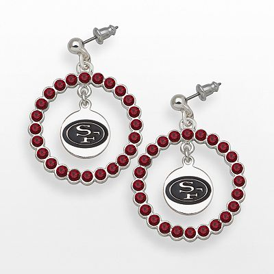 LogoArt San Francisco 49ers Silver Tone Crystal Logo Charm Hoop Drop Earrings