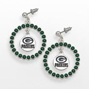 LogoArt Green Bay Packers Silver Tone Crystal Logo Charm Hoop Drop Earrings