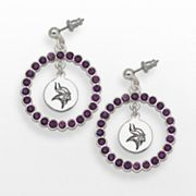 LogoArt Minnesota Vikings Silver Tone Crystal Logo Charm Hoop Drop Earrings