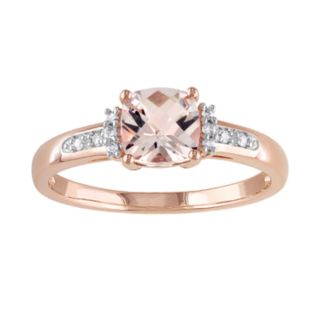 10k Rose Gold Morganite and Diamond Accent Ring