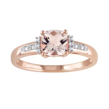 Stella Grace 10k Rose Gold Morganite and Diamond Accent Ring