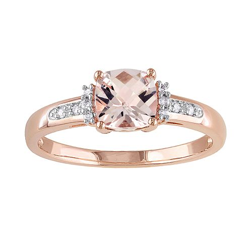 10k Rose Gold Morganite & Diamond Accent Ring