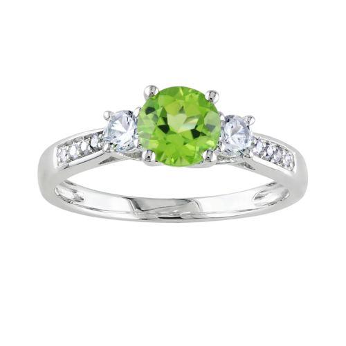 10k White Gold Peridot, Lab-Created White Sapphire and Diamond Accent 3-Stone Ring