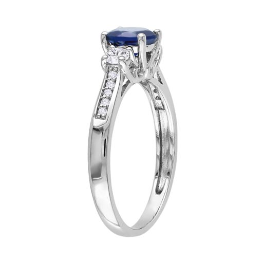 Stella Grace 10k White Gold Lab-Created Blue and White Sapphire and Diamond Accent 3-Stone Ring