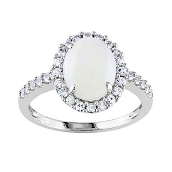 10k White Gold Opal & Lab-Created White Sapphire Oval Frame Ring