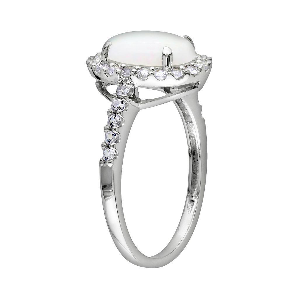 10k White Gold Opal and Lab-Created White Sapphire Oval Frame Ring