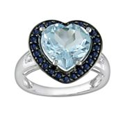 10k White Gold Blue Topaz, Sapphire and Diamond Accent Heart Frame Ring