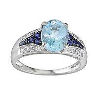 10k White Gold Blue Topaz, Sapphire & Diamond Accent Ring