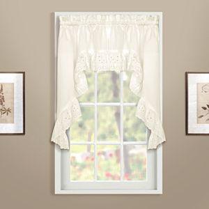 "United Curtain Co. Vienna Eyelet Swag Curtain Pair - 27"" x 38"""