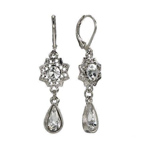 1928 Silver Tone Crystal Flower Drop Earrings