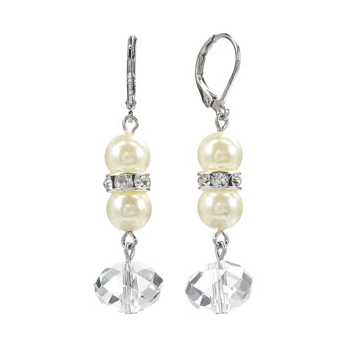 1928 Silver Tone Crystal & Simulated Pearl Linear Drop Earrings