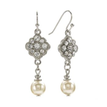 1928 Silver Tone Crystal and Simulated Pearl Drop Earrings