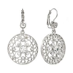 1928 Silver Tone Crystal Filigree Circle Drop Earrings