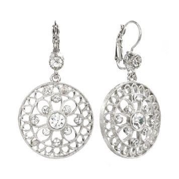 1928 Silver Tone Crystal Filigree Circle Drop Earrings