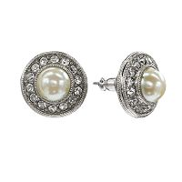 1928 Crystal & Simulated Pearl Halo Stud Earrings