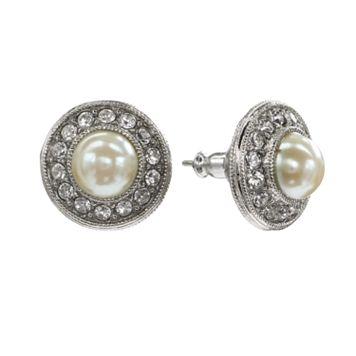 1928 Crystal & Simulated Pearl Halo Stud Earrings