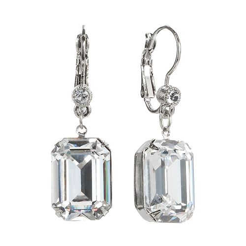1928 Crystal Rectangle Drop Earrings