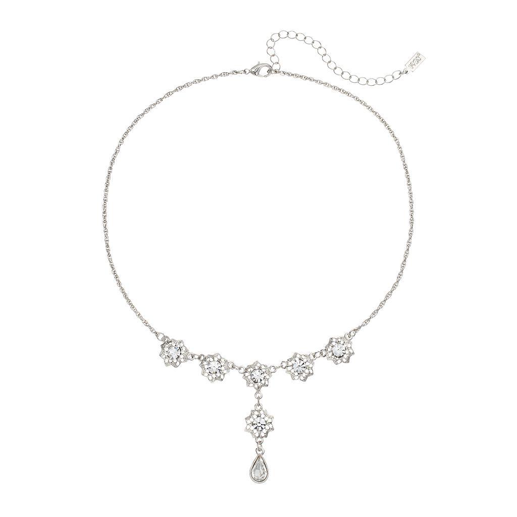 1928 Silver Tone Crystal Filigree Flower Y Necklace