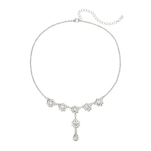 1928 Silver Tone Crystal Filigree Flower Y Necklace