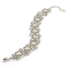 1928 Silver Tone Crystal Flower Filigree Bracelet