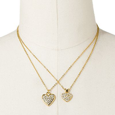 Jennifer Lopez Simulated Crystal Heart Pendant Set