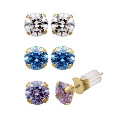 Renaissance Collection 10k Gold 3-ct. T.W. Stud Earring Set - Made with Swarovski Zirconia