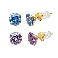 Renaissance Collection 10k Gold 3 5/8 ctT.W. Stud Earring Set - Made with Swarovski Zirconia