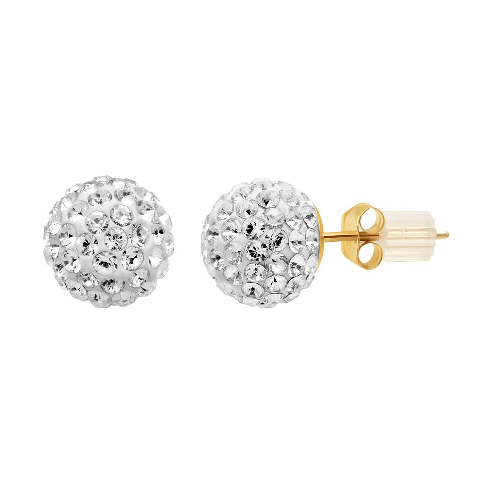 Renaissance Collection 10k Gold Crystal Ball Stud Earrings Made With Swarovski Crystals