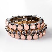 Simply Vera Vera Wang Two Tone Simulated Crystal Multistrand Stretch Bracelet