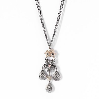 Simply Vera Vera Wang Two Tone Simulated Crystal Textured Flower Pendant